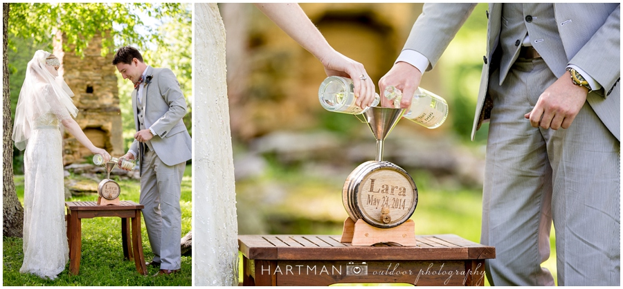 Mountain wedding bourbon ceremony