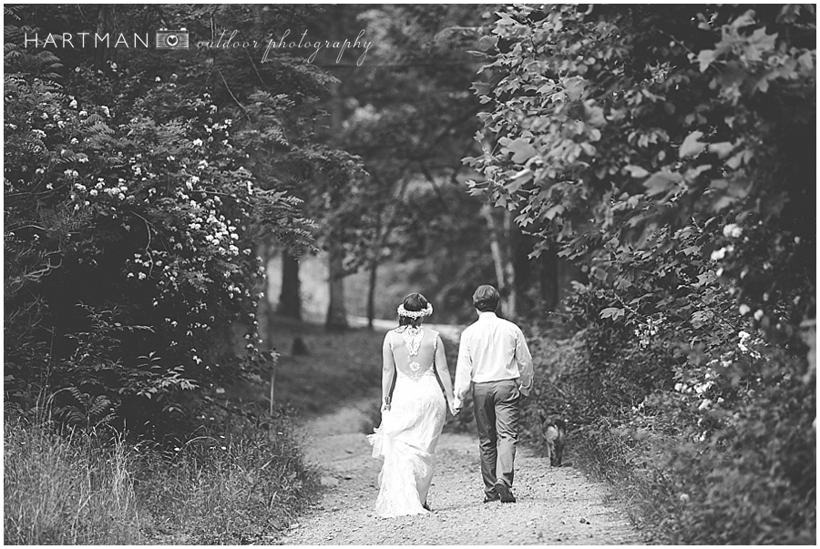 Bride and Groom Walking Away into Woods Forest