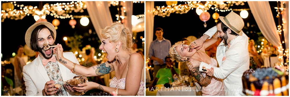 Bride and Groom Smashing Wedding Cake