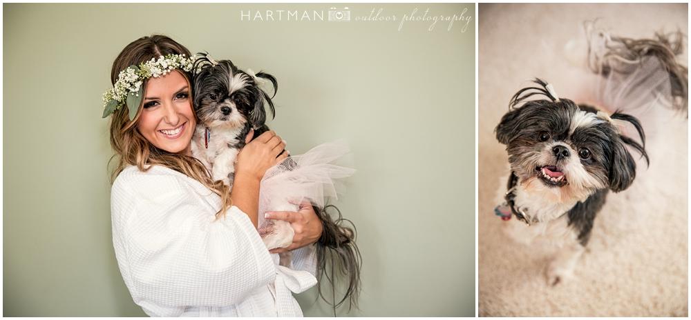 boho bride and dog