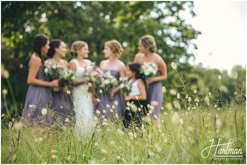NC Wedding in open field meadow