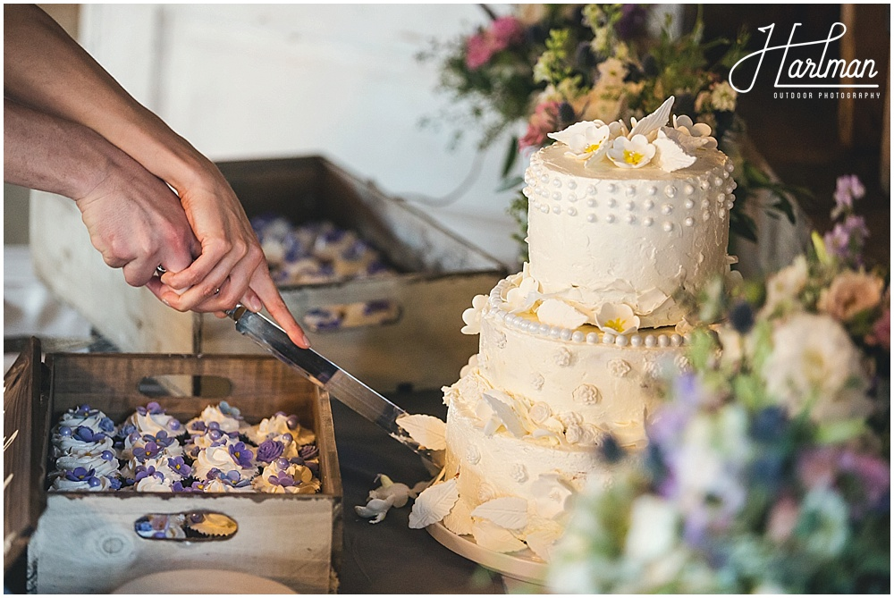 Homemade vintage bohemian wedding cake