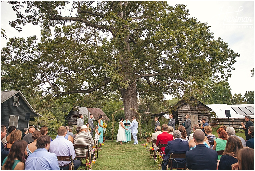 Inn at Celebrity Dairy Oak tree outdoor ceremony