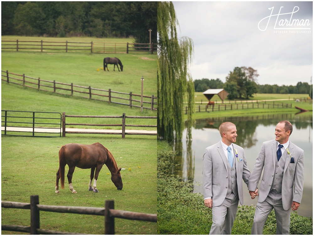 same sex wedding on horse farm