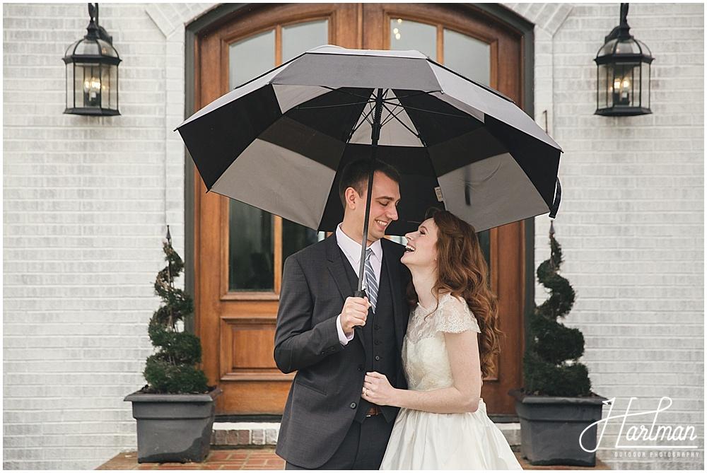 Raleigh Rainy Wedding With Umbrellas