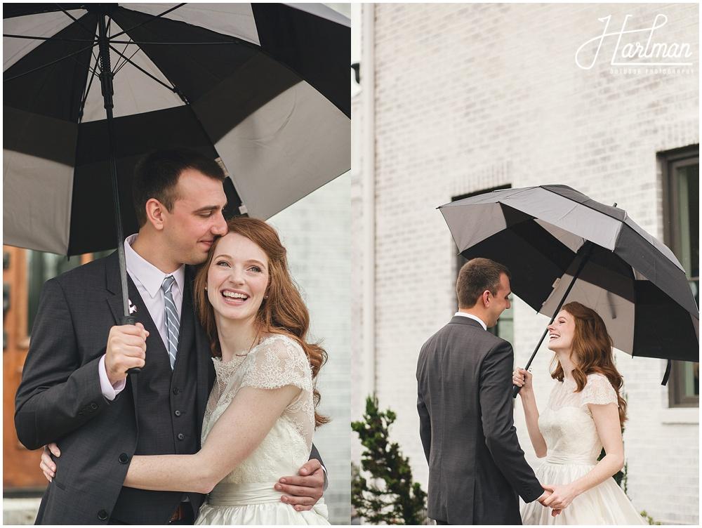 Asheville Rainy Wedding with Umbrellas