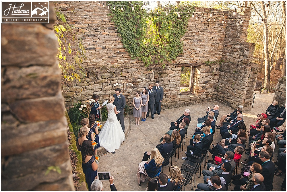 The Mill at Fine Creek Wedding Ceremony Outdoors in Ruins
