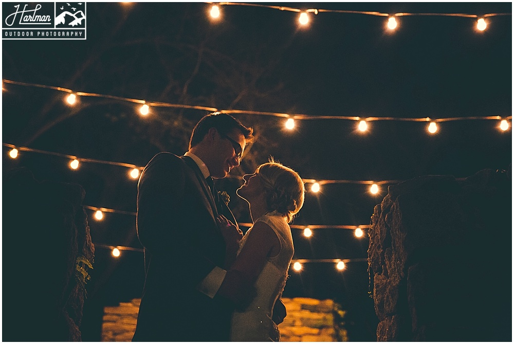 The Mill at Fine Creek Ruins with Marketlights at Night bride and groom portrait