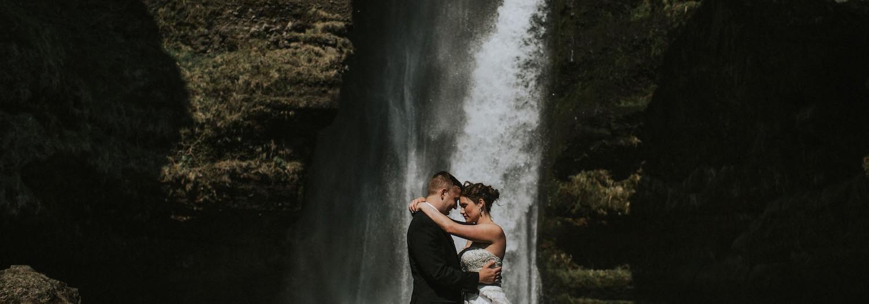 Liz and Adam   Iceland Dyrholaey + Waterfall Wedding