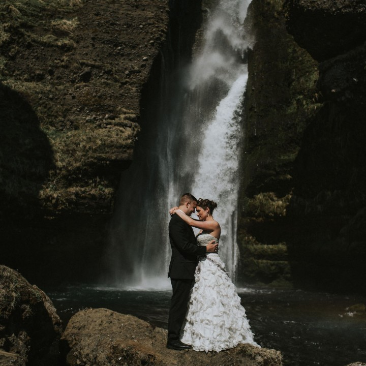 Liz and Adam | Iceland Dyrholaey + Waterfall Wedding