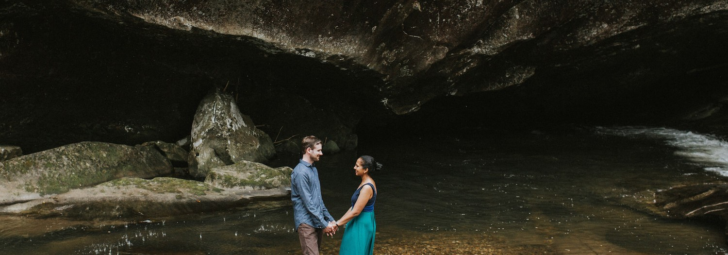 Rob + Tilanthi | Brevard Waterfall Engagement