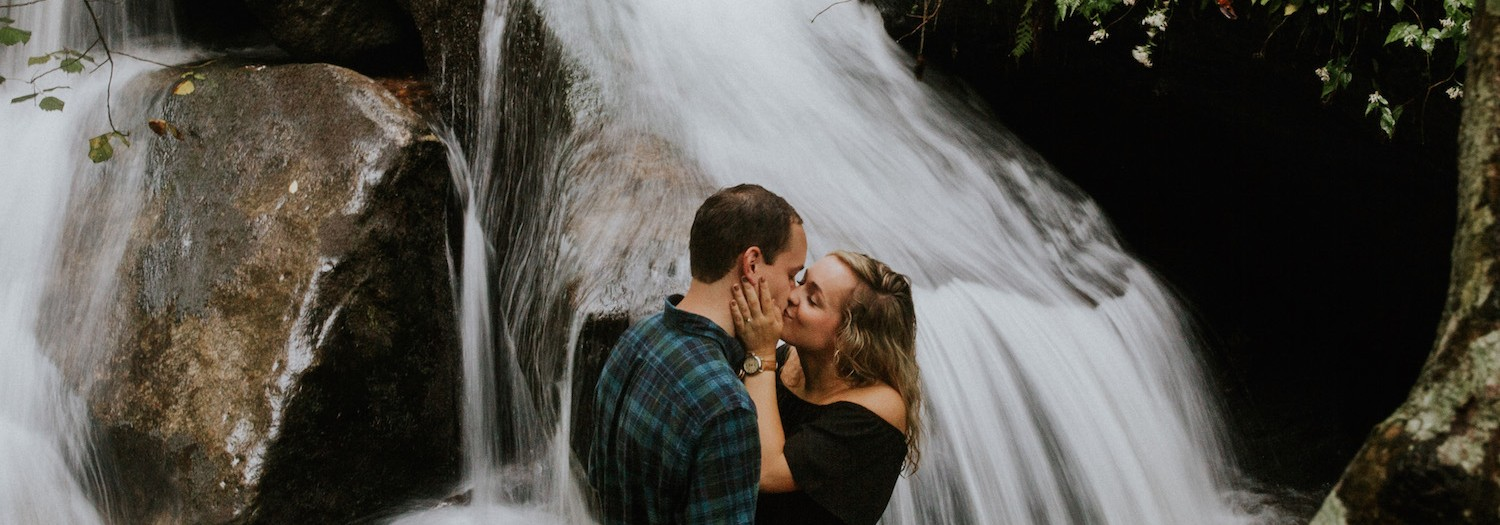 Mitchell + Russ | North Carolina Waterfall Adventure Engagement