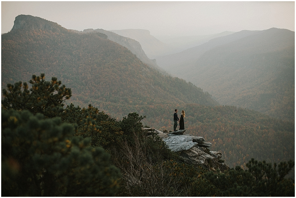 Nicole Michael Linville Gorge Mountaintop Engagement Session Boone Nc Wedding Photographer