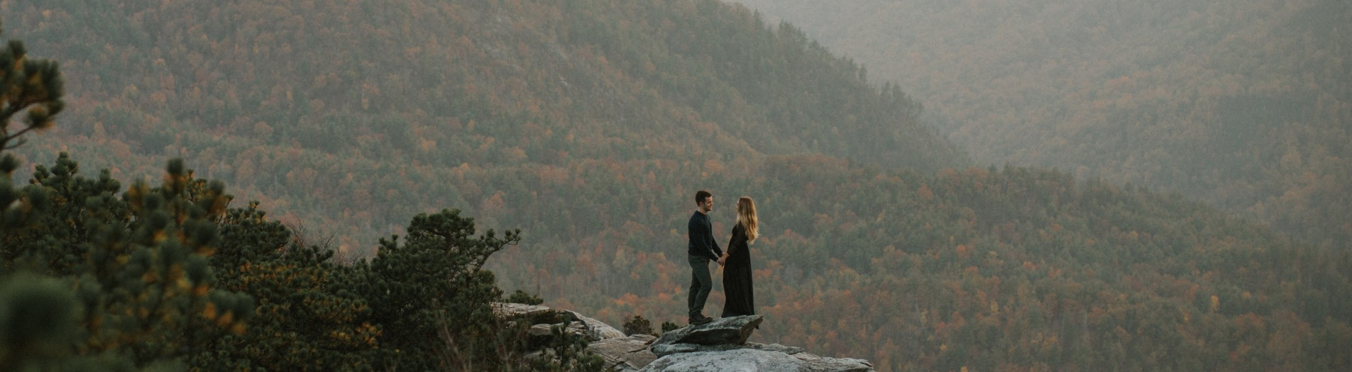 Nicole + Michael | Linville Gorge Mountaintop Engagement Session, Boone, NC