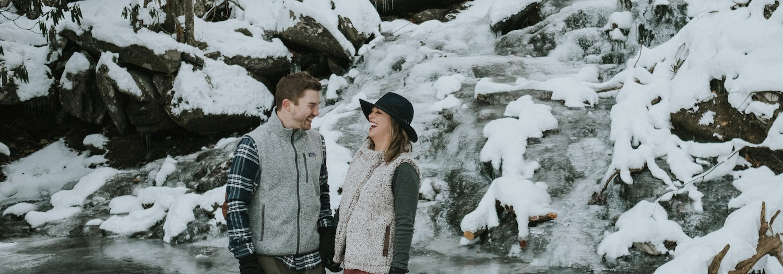 Hannah + Greg | Asheville Frozen Waterfall Adventure