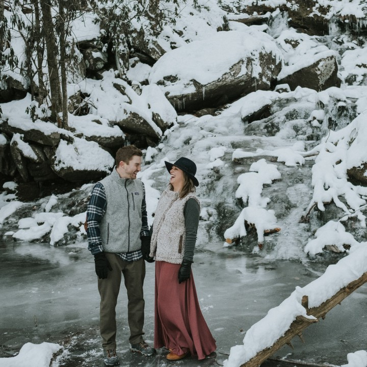 Hannah + Greg | Asheville Frozen Waterfall Adventure