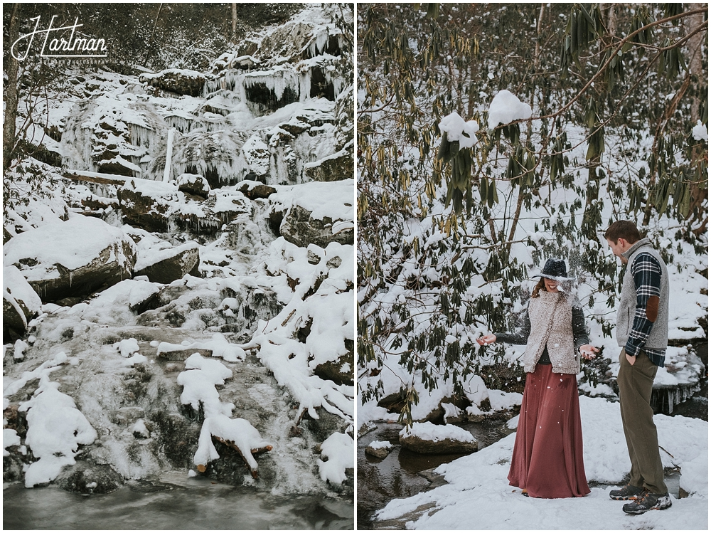 Winter elopement in snow