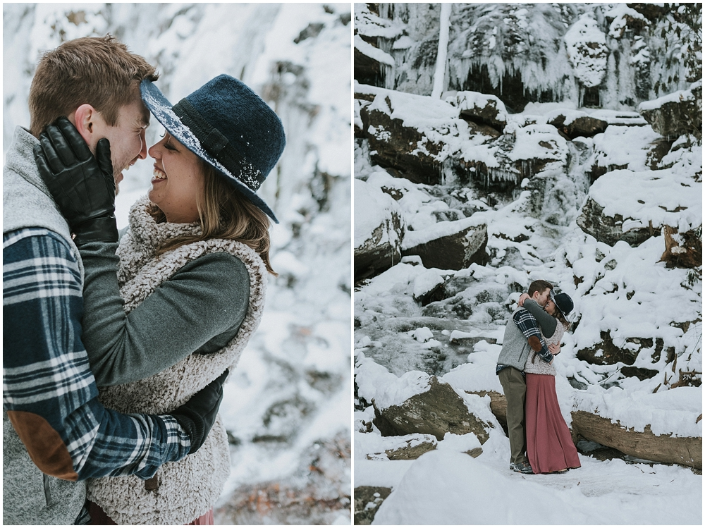 Outdoor wedding ceremony in snow