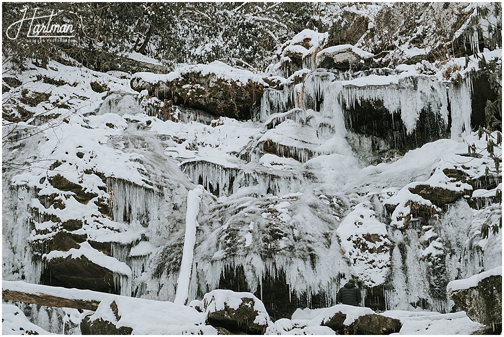 north carolina frozen waterfall