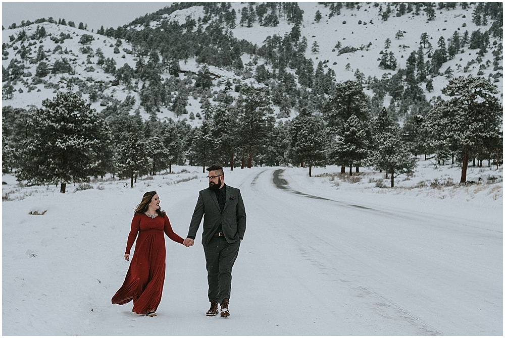 snowy elopement Rocky Mountain National Park