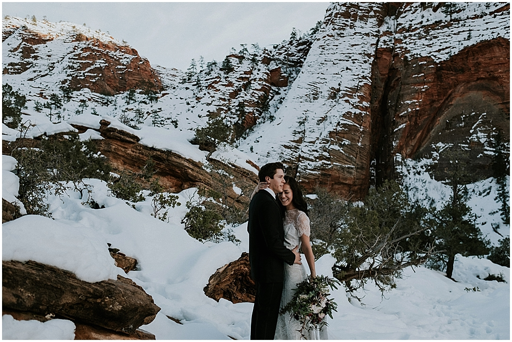 Zion National Park winter wedding