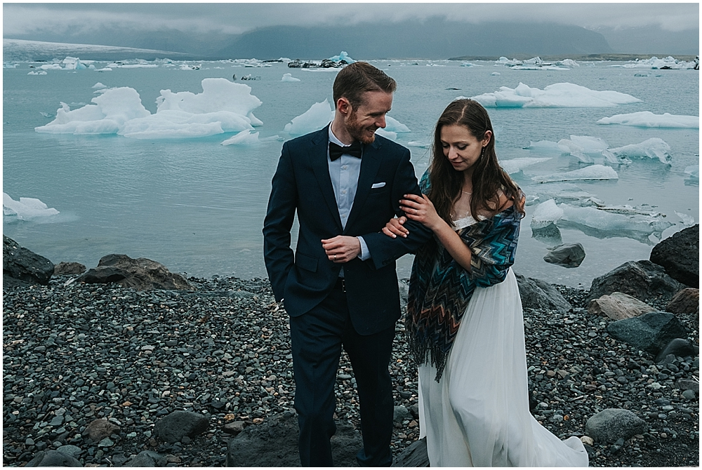 Iceland glacier lagoon wedding