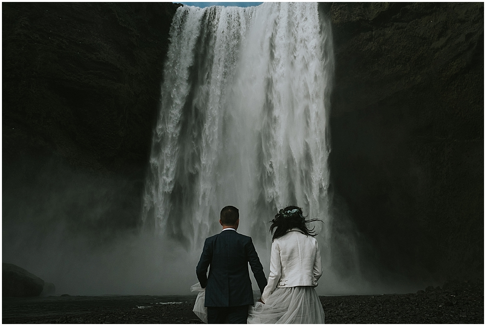 Iceland waterfall elopement at Skogafoss