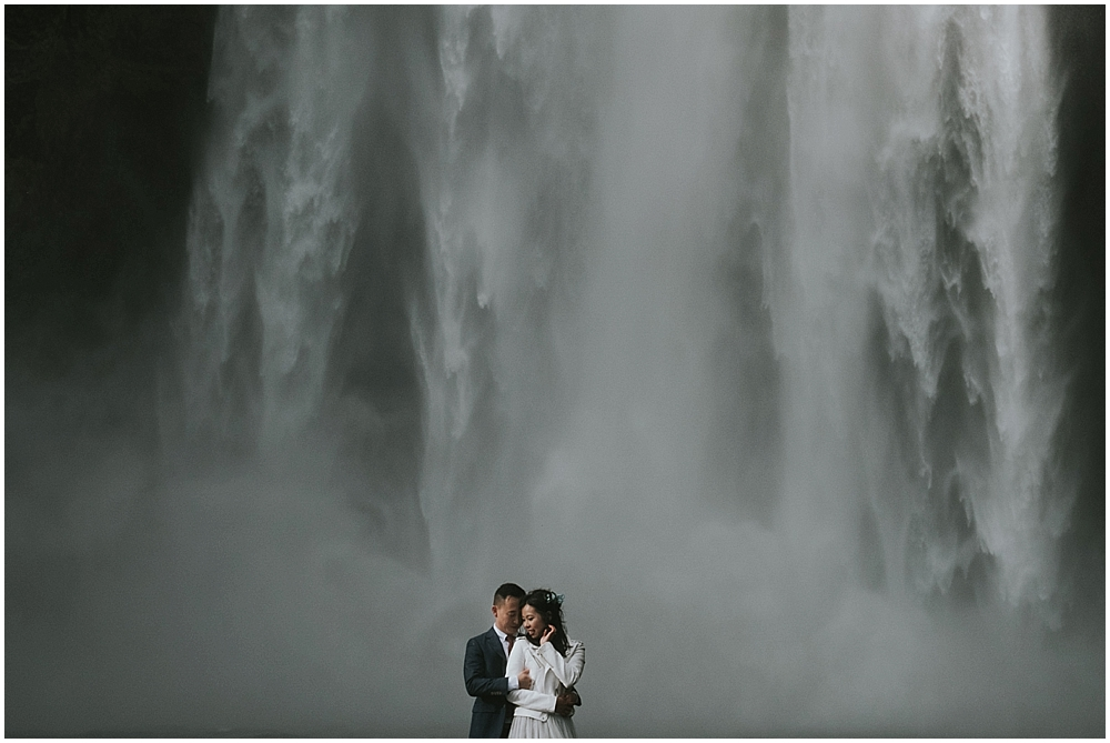 Iceland waterfall wedding Skogafoss