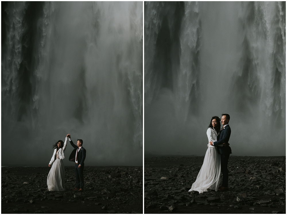 Elopement ceremony at Skogafoss Iceland