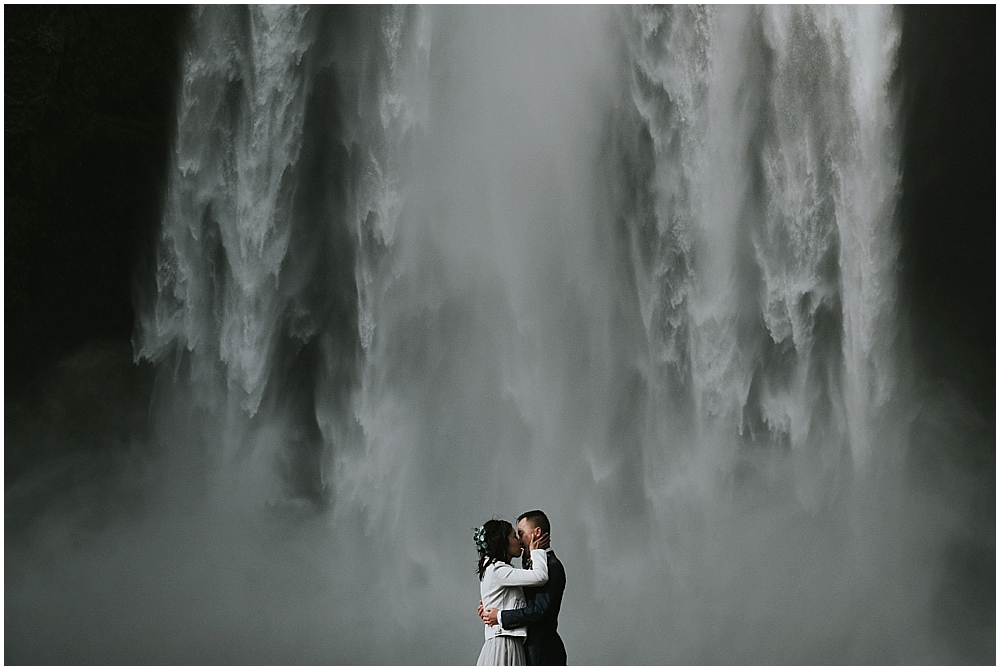Iceland waterfall wedding ceremony