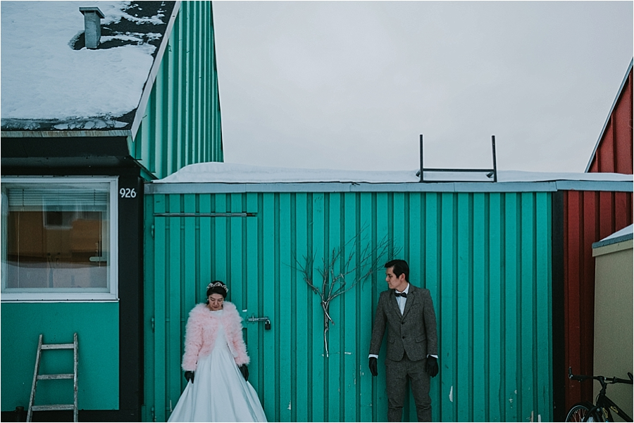 outdoor winter wedding Norway