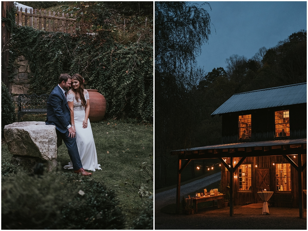 Cozy cabin wedding in North Carolina mountains