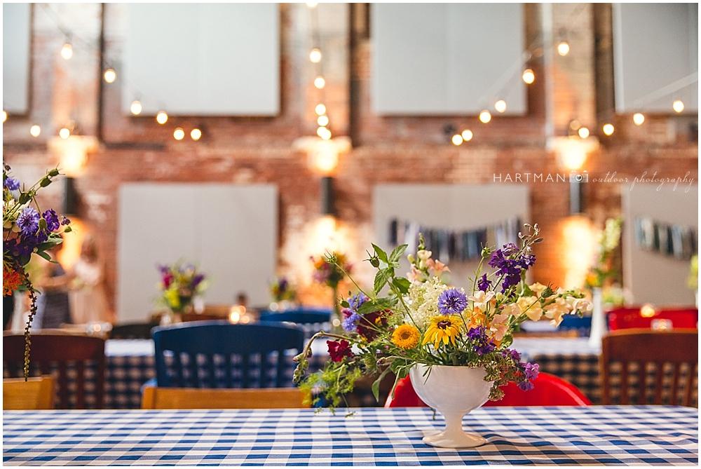 Haw River Ballroom Picnic Wedding Blue White