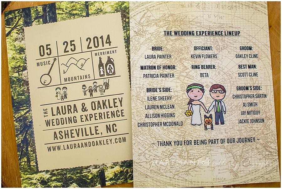 Asheville Mountain Wedding Ceremony Fan Program