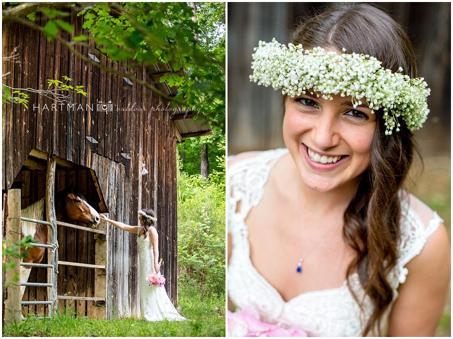Asheville Brahma Ridge Bride Horse Barn Photographer