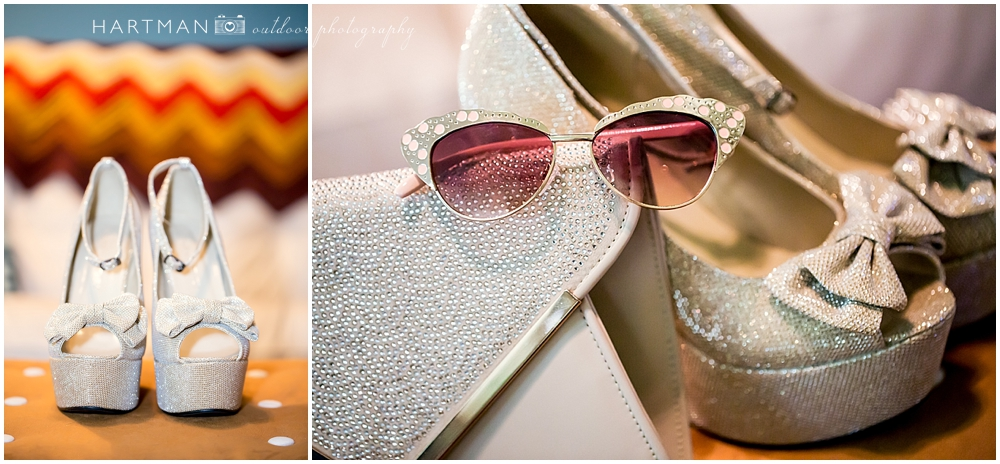 Bride Gold Shoes and Sunglasses