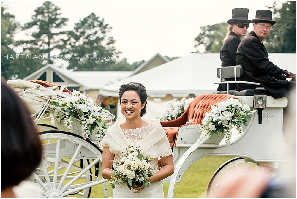 Bride Kay entering Ceremony on Horse
