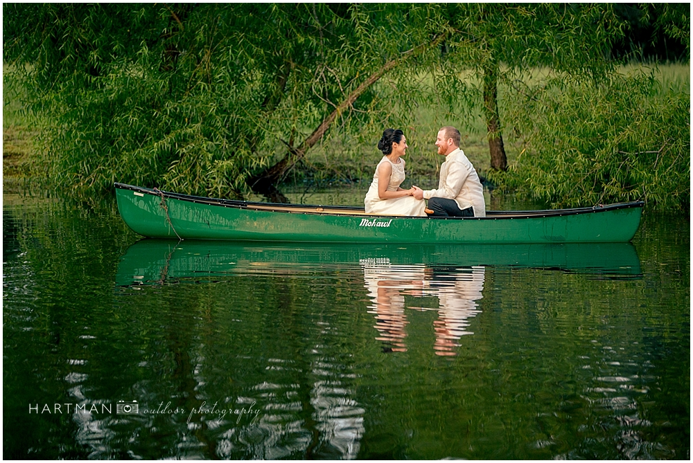 Raleigh Bride and Groom in Canoe