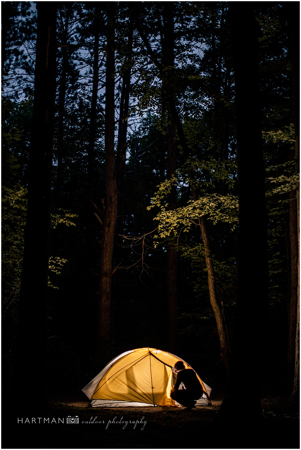 Glowing tent camping photo