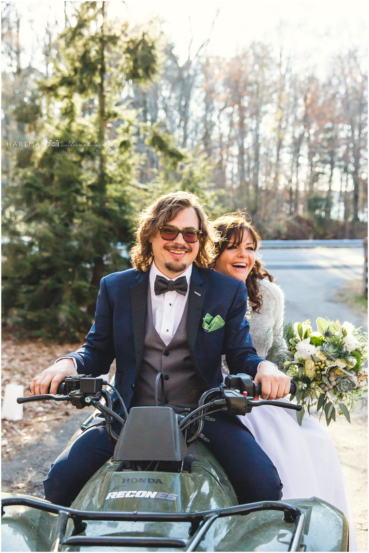 Bride and Groom on ATV