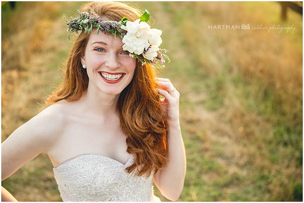 Bride wearing flower crown Raleigh