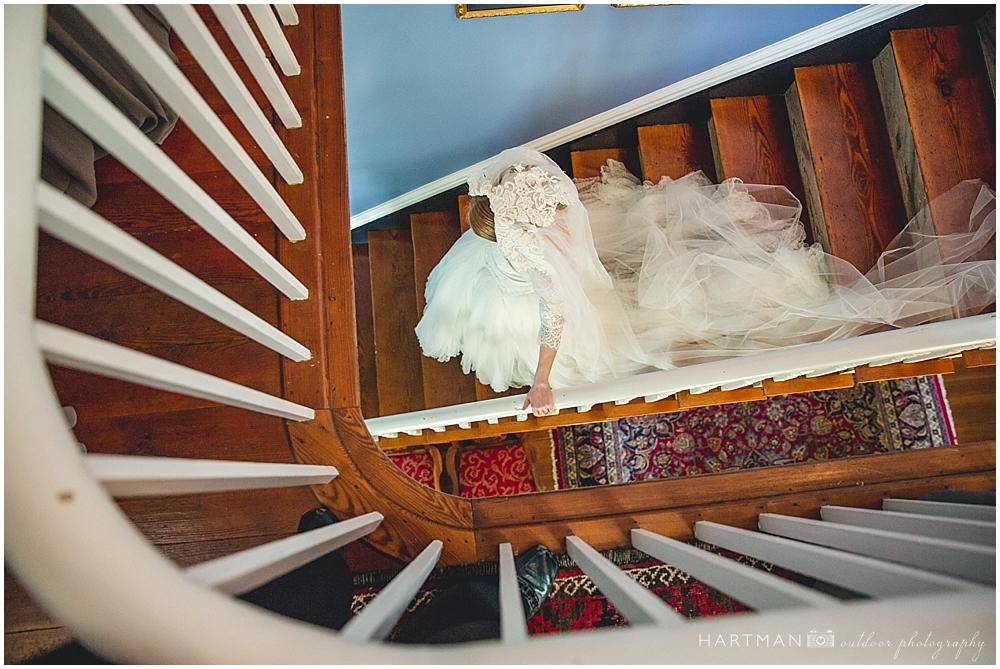 Magnolia Manor Bride on Staircase