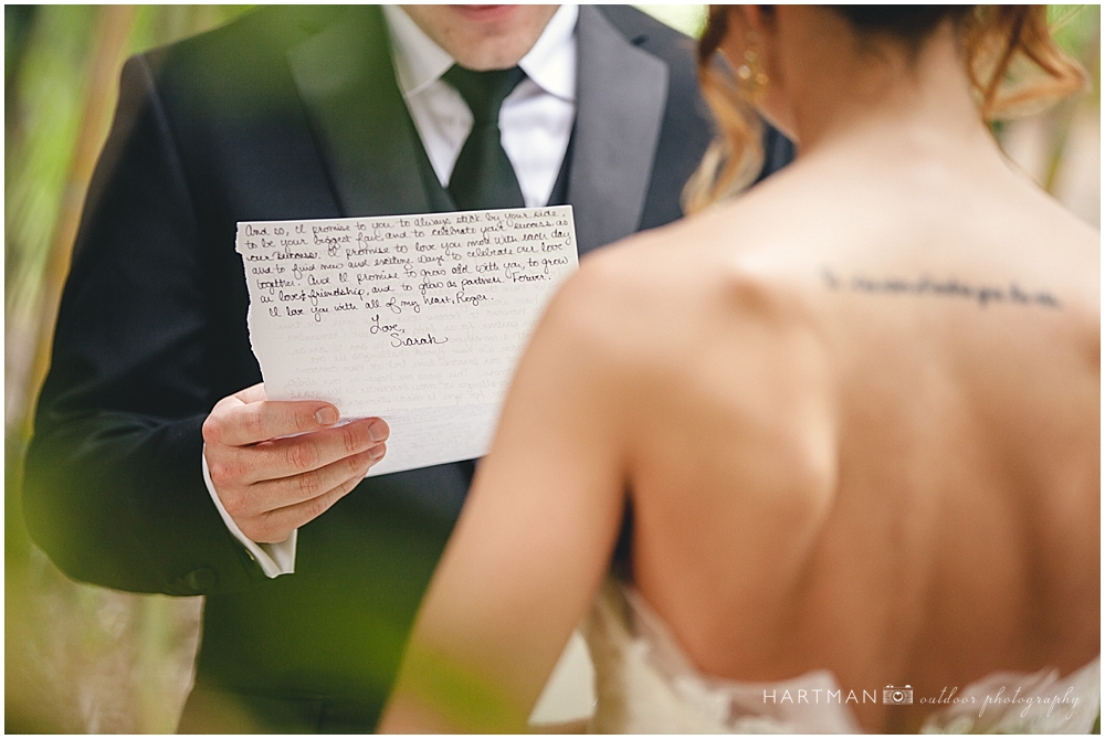 Bride Groom Exchange Letters in Garden