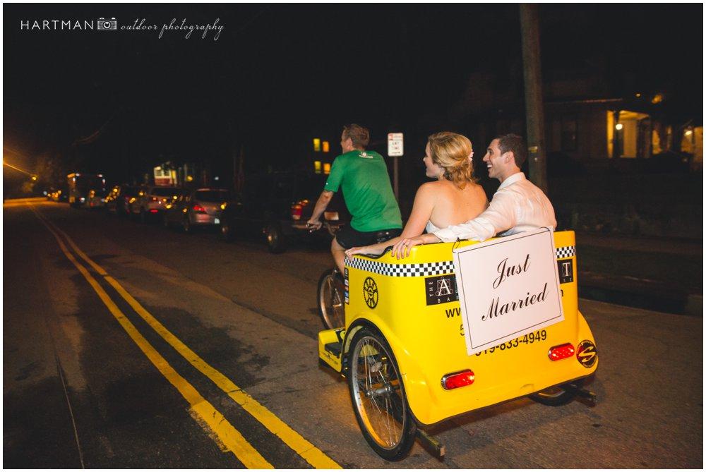 Raleigh Rickshaw Wedding Getaway Bride Groom