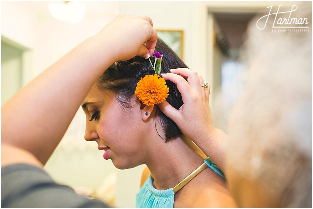 Bridesmaid flowers in hair Zinnia