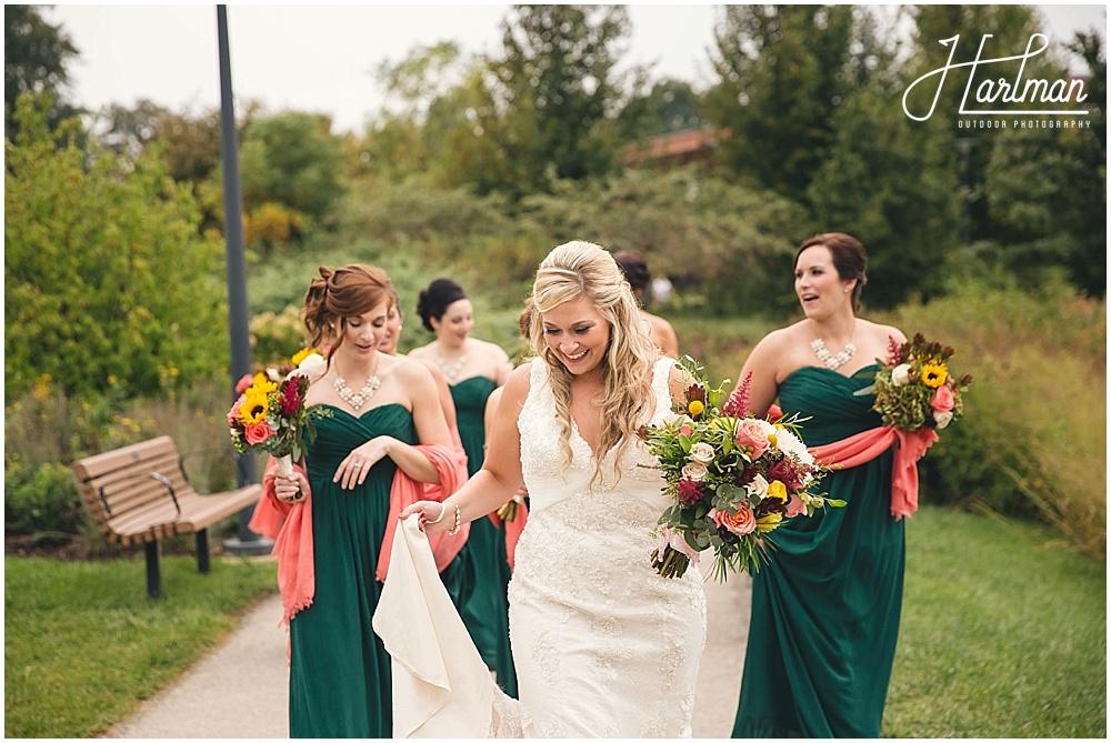 Morton Arboretum bride and bridesmaids