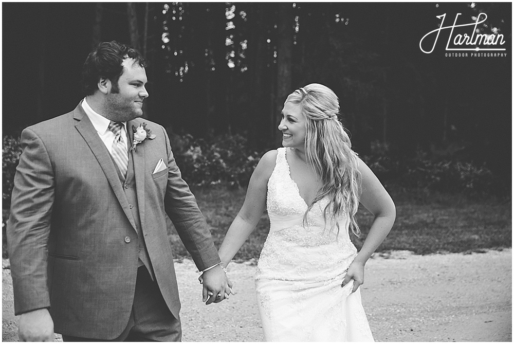 Morton Arboretum Wedding bride and groom walking through forest