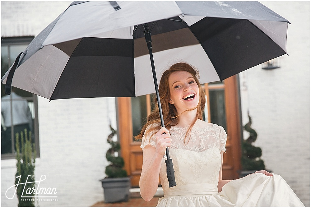 Rainy Day Redheaded Bride in Raleigh