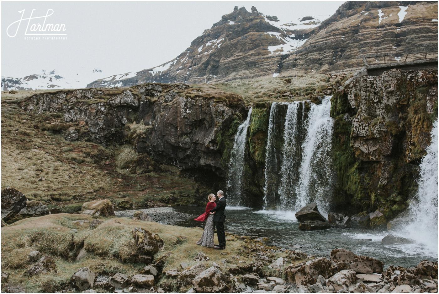Kirkjufellfoss waterfall wedding Iceland _0056
