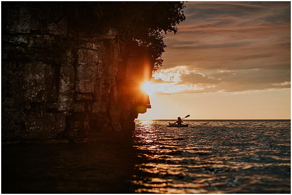 Kayaking at Sunset Fall